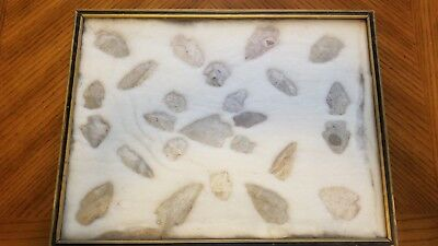 Fulsom Indian Arrowheads in glass frame