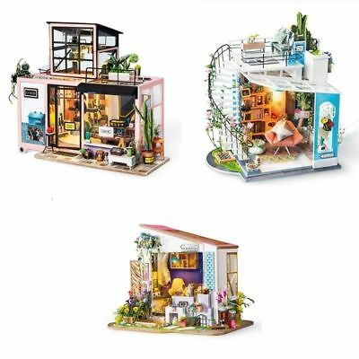 18 Kinds DIY Dollhouse Miniature House Kit Wooden Gift Room Doll Light Robotime