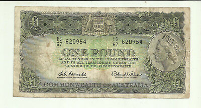 "Australia Banknotes 1 Pound 1960"" Circulated  little tear"