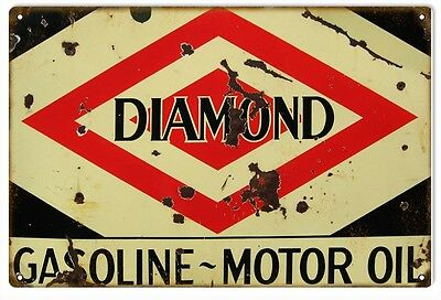 Diamond Gasoline Motor Oil Service Station Sign
