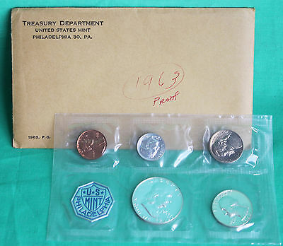 1963 United States 5 Coin Proof Set Silver Coins and Envelope Made in America