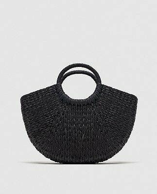 Zara Ss18 Black Straw Bag With Rounded Handles Paper Sezane Vintage  6048/304