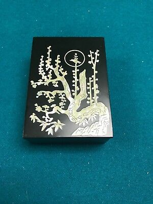 Korea Cultural Heritage Found'n Lacquer Mother of Pearl Trinket Box Flower Tree
