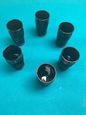 6 Avon 1876 CAPE COD Collection Ruby Red  Glass Ice Tea Tumblers