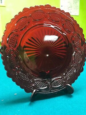 """Avon 1876 Cape Cod Collection SALAD PLATE Glass Ruby Red 7"""""""