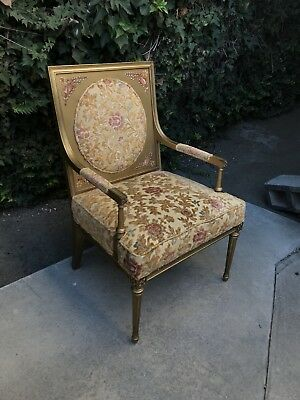 Louis XVI Style Handpainted Chair With Multicolor Upholstery