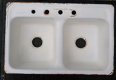 Vintage 1949 Richmond? Double Basin Cast Iron & Porcelain Farmhouse Kitchen Sink