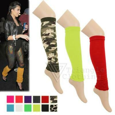 Ladies Girls Teen 80's Dance Plain Leg Warmers15 Colours Ribbed Legwarmers Tutu