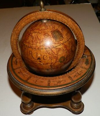 Vintage Wood Rotating Olde World Globe With Zodiac Desk Table Top Italy