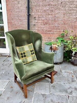 Antique Georgian Wingback Armchair Green Velvet Circa 1810