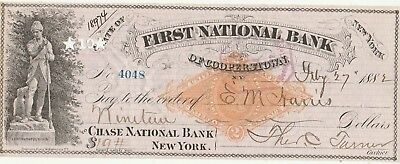 FIRST NATIONAL BANK of COOPERSTOWN, NY 1882  LEATHER STOCKINGS VIGNETTE