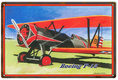 Reproduced from Original Art by Bob Miller Boeing P-12 Sign. 12X18