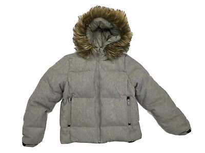 Women's GAP Outdoor Edition Medium OC Puffer Jacket Hood Wool Down Gray Quilted