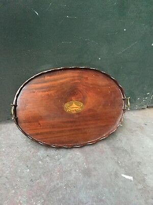 Antique Edwardian Oval Inlaid Serving Tray  Piecrust Edge, Brass Handles C1910
