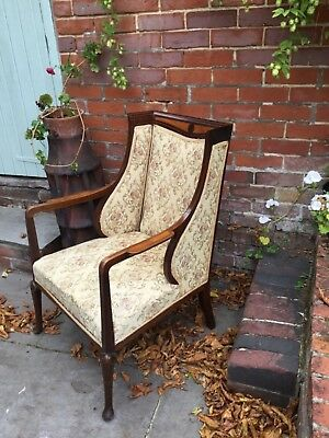 Antique Edwardian Armchair Mahogany inlaid with Satin Birch circa 1910