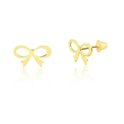Bow Tie Ribbon 18k Solid Yellow Gold Screw Back Stud Earrings for Toddler Girls