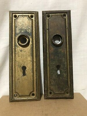 Pair Of Vintage Mid Century Modern Steel Door Knob Backplates
