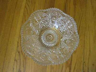 "Vintage - Antique - Cut Glass Bowl - Clear - 9.25"" In Diameter - 4"" Tall"