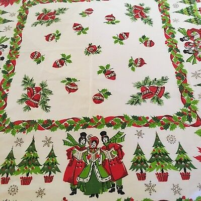 vintage mid century modern 50 square christmas tablecloth poinsettia carolers - Square Christmas Tablecloth