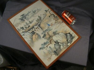 Fine Chinese Republic Silk Painting of Scholars in a Landscape Setting