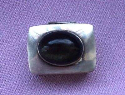 Sterling Silver 925 Mark Pill  box With  Stone -hallmarked