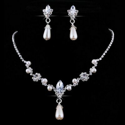 Ladies Women Wedding Bridal Fashion Pearl Bead Crystal Necklace Earring Set UK