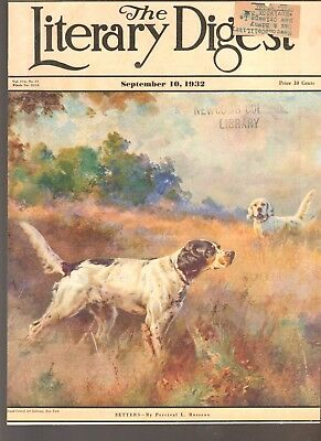 Vintage Original 1932 Art COVER:  SETTERS by Percival Rosseau, Hunting Dogs