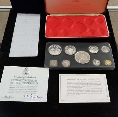 1975 Commonwealth of the Bahamas 9 pc Proof Set from Franklin Mint
