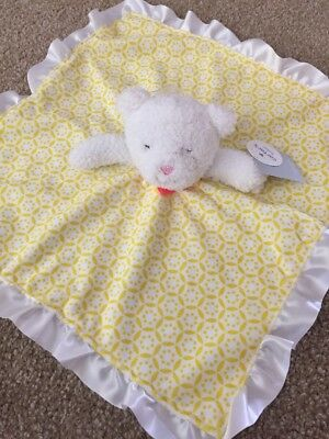 Carters Child Of Mine Yellow Green Satin Tag Baby Blanket Lovey