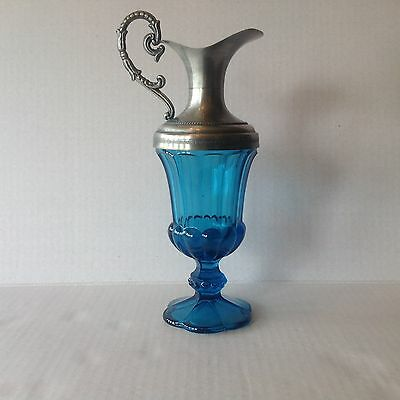 Pressed Depression glass blue Claret/Jug Pewter Glass Decanter