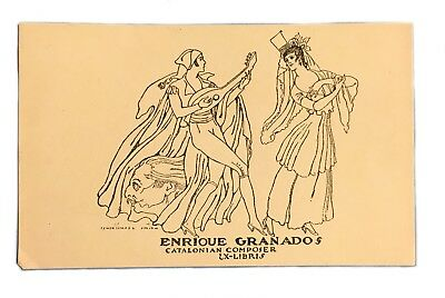 Ex Libris Exlibris Bookplate Enrique Granados Catalonian Composer Ismael Smith