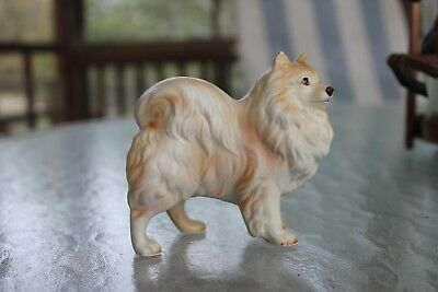 Vintage Pomeranian Dog Figurine ceramic from Japan, small, buff