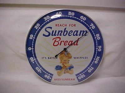 "Sunbeam Bread ""12 Round Thermometer Glass Dome Front & Aluminum Casing"