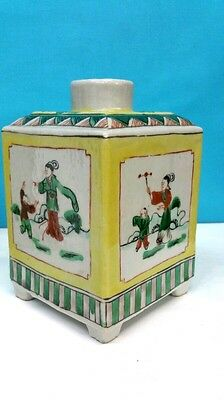 Antique Chinese Porcelain Square Vase Hand Painted