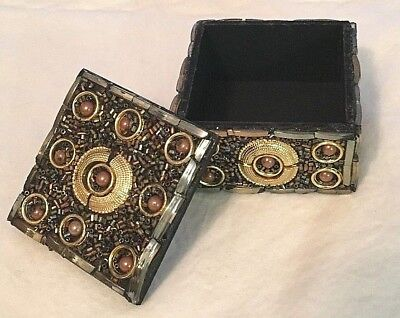 Beautiful Trinket Box in Shades of Gold, Iridescent Multi Colors & Bronze