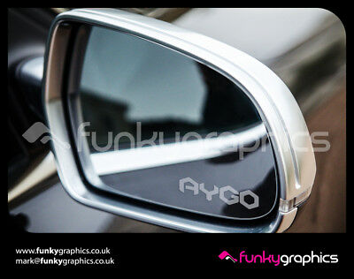 TOYOTA AYGO LOGO MIRROR DECALS STICKERS GRAPHICS DECALS x 3 IN SILVER ETCH