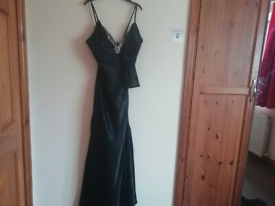 Ladies strappy black satin look evening dress with sequin panel Dave&Johnny 9/10