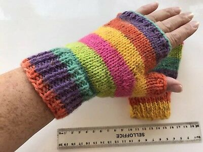 Hand Knitted UNISEX MENS/LADIES CROPPED FINGERLESS GLOVES In BRIGHT Colours (b)