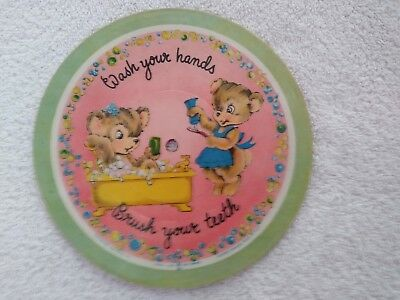 "Vintage ""Wash your Hands"", and ""Three Little Kittens"" Childrens Record Wall Art"