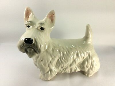 Vintage Ceramic Scottie Dog White With Pink Ears Made In England