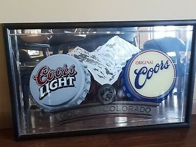 Coors And Coors Light Mountain Mirror Bar Sign