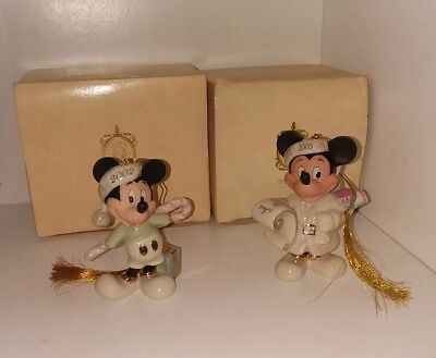 "Lenox Disney ""Mickey's Holiday Surprise"" 2002 Christmas Ornament in Box with COA"