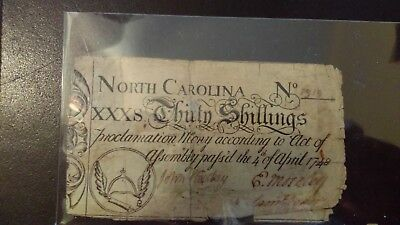 North Carolina 30 Shillings Note 1748 issue