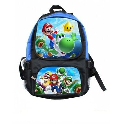 Super Mario Galaxy Backpack School Travel Hand Bag Kids Library Rip-Stop Wii OZ!