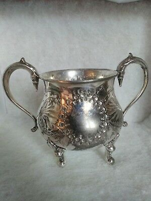 Antique Metal Sugar Bowl With Ornate Swan Neck Handles On Four Feet