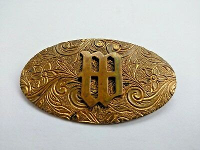 Beautiful Antique Art Nouveau Monogram M Gold Brooch Pin Swirl Flower Design