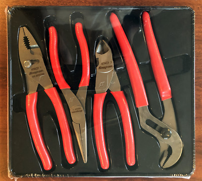 "New Snap On 5"" Red Soft Handle Pliers/Cutters Set 4 Pcs Set PL400B"