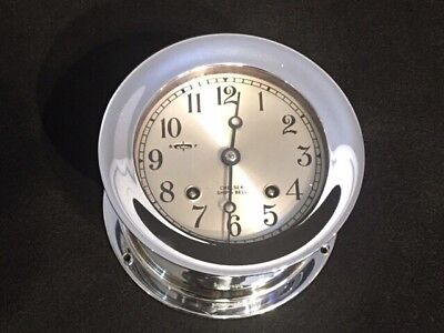 """CHELSEA CLOCK CO. SHIPS BELL CLOCK 4.5"""" DIAL W/ WOOD BASE Pristine Vintage Cond"""