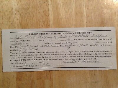 RARE 1906 Rockford OH JOHN DEERE Spring Breaking Plow Coppersmith PURCHASE ORDER
