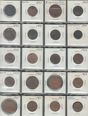 Old British Coins 20 In Total From 1800's To 1900's